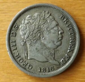 British George III Sterling Silver Shilling Coin 1816 About EF Grade Toned.