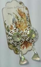 Artisan with Swarovski crystals Luminous green silver drop earrings