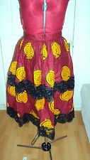 ANKARA African Print Burgundy Multi Knee Length Pleated Skirt with Lace UK 14/M