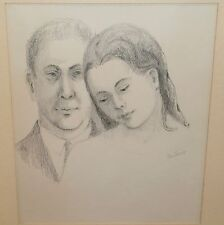 September Song-Young Man & Woman Pencil Drawing-1960s-Jan Gary