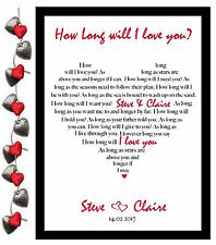 Valentines Day Gift for Him / Her Personalised How Long Will I Love You Lyrics❤️