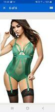 Ann Summers Aisha Green Suspender Body Size 8 10 B / C NWT