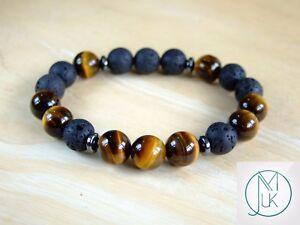 Tiger Eye/Lava Natural Gemstone Bracelet 7-7.5'' Elasticated Healing Stone Reiki