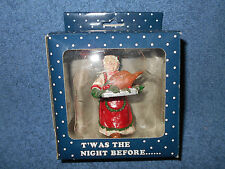 "3 1/2"" WOMAN W/ CHRISTMAS TURKEY FIGURINE FOR CHRISTMAS VILLAGES OR CRAFTS NEW"