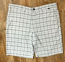 Hurley Men's Gray Shorts w Red and Charcoal Plaid 4 Pkt Logo Measures as Sz 40