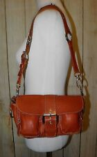 ROOTS Orange Brown Leather Small EMILY Satchel Tote Purse Bag Boho CANADA