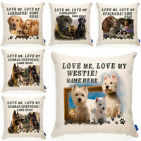 Personalised Dog Cushion Cover Love My Love My Dog Breed Pillow Sofa Gift