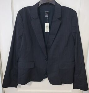 Ann Taylor navy and grey striped blazer Size 18 one button closure CAREER lined