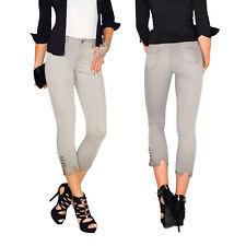Damen High Waist Ankle 7/8 Capri 3/4 Röhren Jeans Hose Fransen Schnürung E207