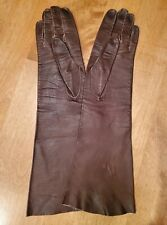 Vintage Brown Long Leather Gloves - Real Kid Western Germany size 7 Euc