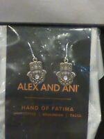 Alex and Ani Hand of Fatima Rafaelian Silver Dangle Earrings Dust Bag NWT