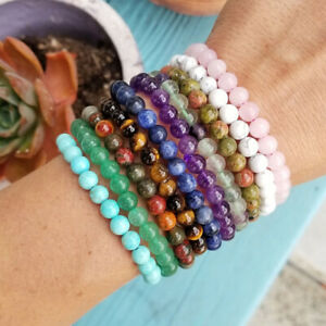 4~8mm Naturedelstein Runde Perlen Elastisch Armband Heilung Reiki Edelstein