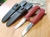 "2 Pc Lot Mora Morakniv Basic 511 8"" Carbon Steel Red Camp Survival Knife 1502"