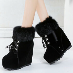 Womens Casual Platform Wedge High Heel Shoes Winter Fur Trim Lace Up Ankle Boots