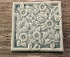 "4 VTG RARE LATCO EMBOSSED FLORAL CERAMIC TILES 4"" BLUE LOS ANGELES TILE CO JAPAN"