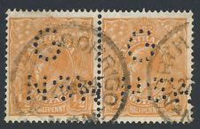 1932 KGV 1/2d Orange Australia CofA WMK G NSW Punctured Perfin Pair DORRIGO NSW