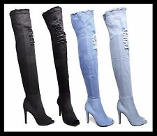 Womens Distressed Denim Over Knee Boots Stiletto High Heel Peep Toe Ladies Shoes