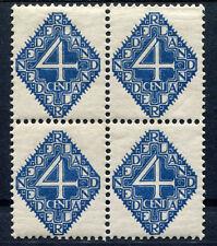 PLAATFOUT 113 P1, in blok van 4 ,  XX, met gom en plakkerspoor
