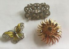 Lot Great  Vintage Pins Butterfly, Art Deco Diamante And Gold Tone Swirl.