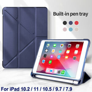 For Apple iPad 8th 10.2 Pro 11 2020 9.7 10.5 Smart Case Cover With Pencil Holder