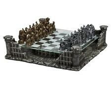 "16"" Roman Gladiators Chess Set With Colosseum Platform Metal Pewter 3"" King New"
