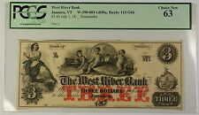 18_Remainder $3 West River Bank Jamaica, VT Obsolete Note PCGS Choice New 63 WW