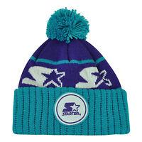 Starter Blank Purple Blue Pom Pom Beanie Knit Cuffed Toque Solid Plain Winter