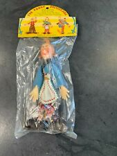 FUNNY VINTAGE DRESSED CLOWN MOVABLE ARMS AND LEGS IN OLD PACKAGE HONG KONG