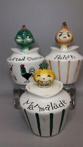 LOT 3 Vintage LEFTON Pixieware Condiment Jars w/Spoons With Issues & Attitudes!