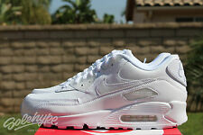 NIKE AIR MAX 90 LEATHER SZ 10 WHITE WHITE PURE TRUE 302519 113