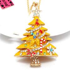 Yellow Enamel Cute Christmas Tree Crystal Pendant Betsey Johnson Women Necklace