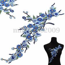 Blue Plum Blossom Flower Sew On Iron On Patch Applique Badge Embroidered Cute