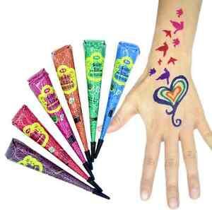 6 Colours Henna paste cones tattoo kit bodyart temporary mehandi Free Shipping