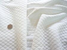 QUILTED STRETCH JERSEY-DIAMOND JACQUARD-WHITE - DRESS FABRIC-FREE P&P