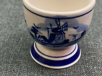 "Hand Painted Delfts Blue White Ceramic Egg Cup Windmill 1.75"" Tall"