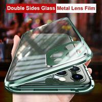 360° Full Cover Magnetic Glass Case+Camera Lens Film for iPhone 11 Pro Max XR XS