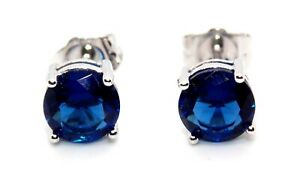 Sterling Silver Blue Sapphire 2.28ct Stud Earrings (925) Free Gift Box