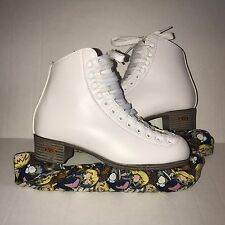 Riedell Skates Ice Skates Figure Skates With Blade Guards/Covers 110W Sz 4