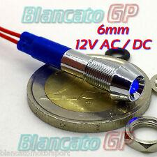 SPIA LED BLU 12V DC METALLO CONICA 6mm IP67 auto moto camper nautica segnalatore