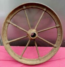 "Antique Cast Iron 16"" Diameter x 2"" Thick Wheelbarrow Type Wheel"