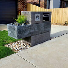 Concrete charcoal letterbox Hand made, custom bespoke polished concrete mail box