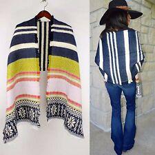 Reversible NAVY Tribal Serape Boho Southwest Oversized Fringe Blanket Wrap Scarf
