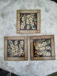 x3 Victorian Floral Design Ceramic Square Tiles