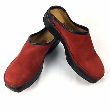 Cole Haan Country Driving Mules Clogs Womens Red Suede Leather Size 8 # F8908