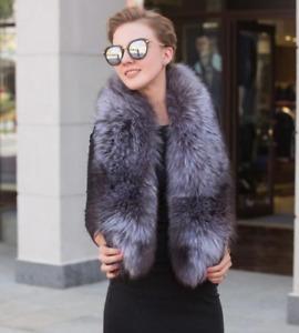 Unisex Fur Collar Fur Shawl Silver Fox Fur Scarf Winter Fur Scarves with Clip