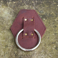 """CAS Viking Axe Hanger Dagger Rapier Holder Brown Leather + 2"""" Metal Ring LARP"""