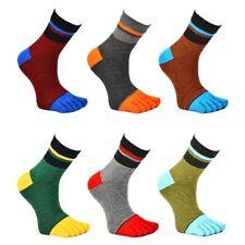 5 Pack Men's Five Finger Toe Socks Cotton Multicolor Casual Sports Crew Striped