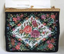 Evening Purse Petite Point Tapestry Black & Pink Rose Florals Gold Clasp