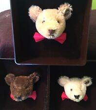 STEIFF BEAR HEAD MOHAIR PIN BROOCH IN ORIGINAL BOX -- LOT OF 3