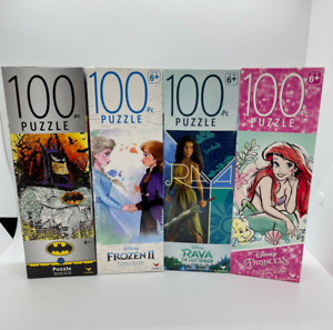4 100pc Puzzle's Disney - frozen 2, Raya, Princess, Batman